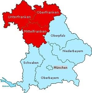 karte franken Frankenland in Bayern   Ausflugsziele: Fotos, Info, Videos